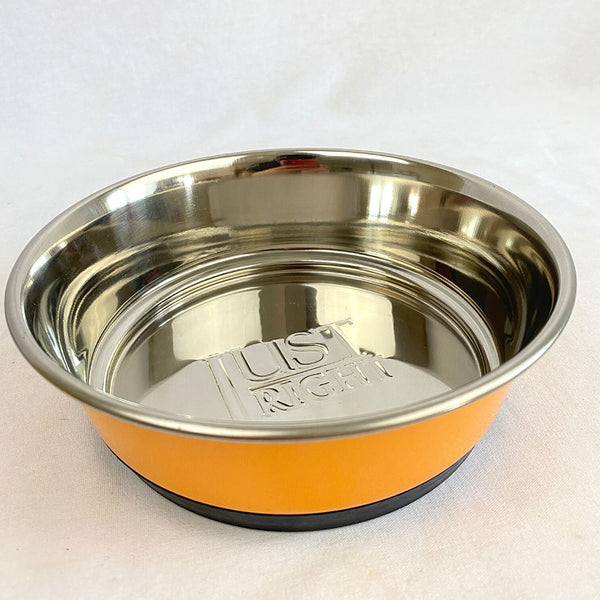 BESTINSHOW Heavy Dish Emboss JUSTRIGHT Orange 17cm Pet Bowl Best In Show