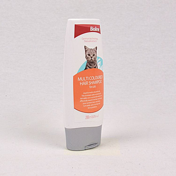 BIOLINE Cat Multicoloured Hair Shampoo 200ml Grooming Shampoo and Conditioner Bioline