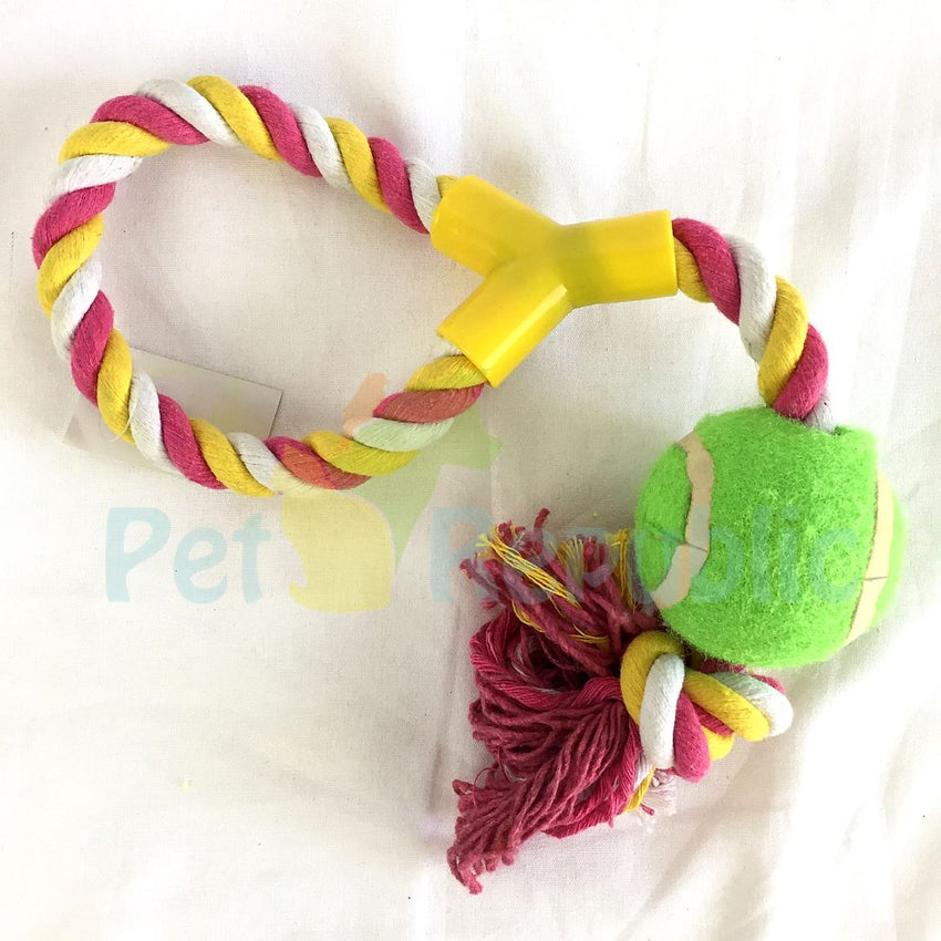 BOBO BO4213 Cotton Toys Braided Rope with Ball - Pet Republic Jakarta