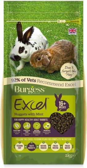 BURGESS Excel Adult Rabbit Food 2kg Small Animal Food Burgess