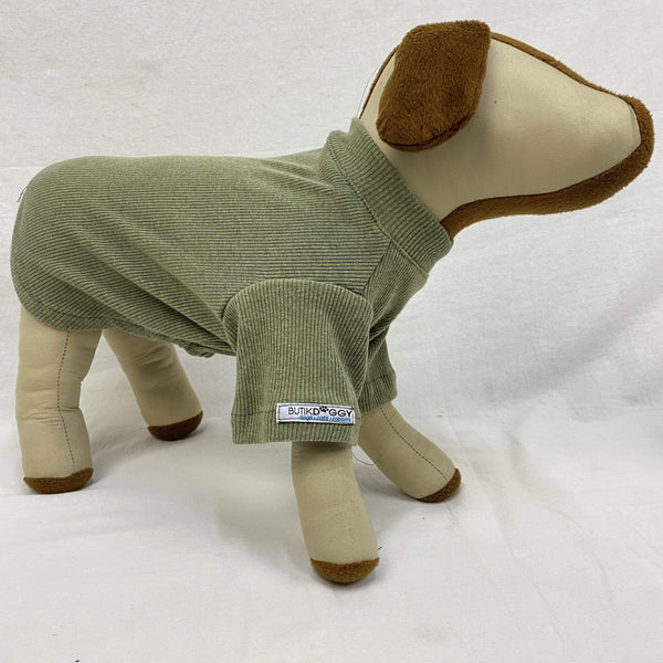 BUTIKDOGGY Olive Green Rib TShirt Pet Fashion ButikDoggy