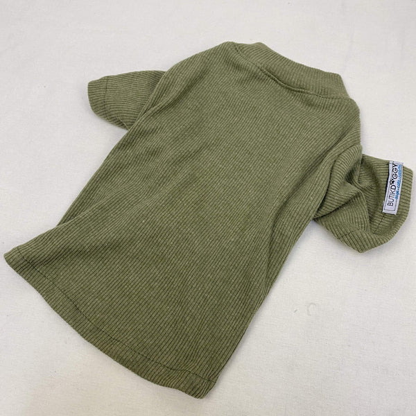 BUTIKDOGGY Olive Green Rib TShirt Pet Fashion ButikDoggy Small