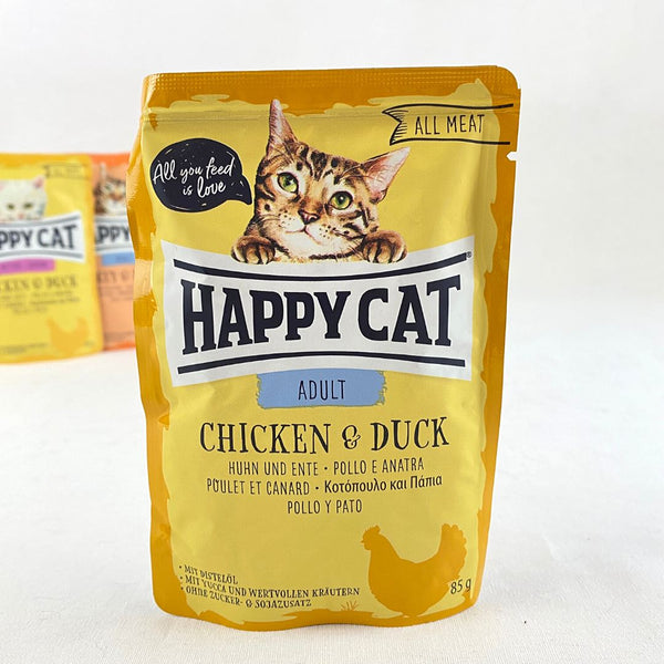 HAPPYCAT Pouch Adult Chicken and Duck 85g Cat Food Wet Happy Cat