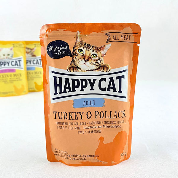 HAPPYCAT Pouch Adult Turkey and Pollack 85gr Cat Food Wet Happy Cat