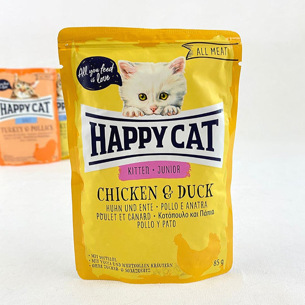 HAPPYCAT Pouch Kitten-Junior Chicken and Duck 85g Cat Food Wet Happy Cat