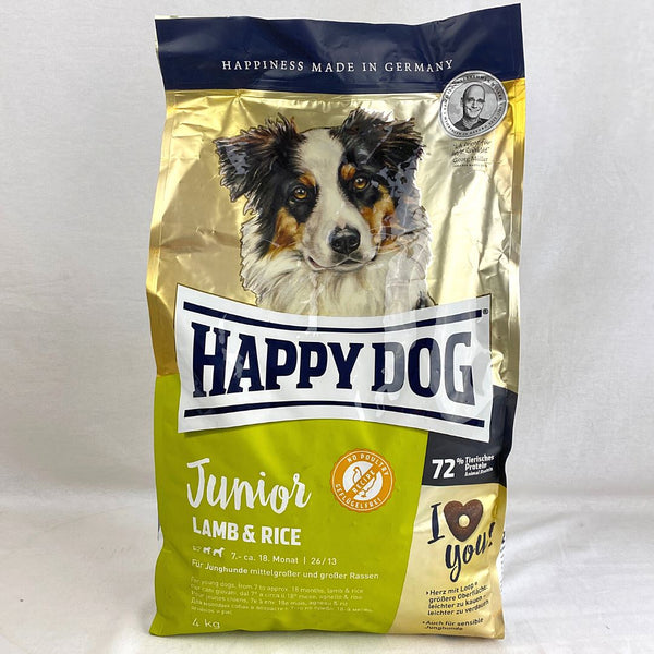 HAPPYDOG Supreme Young Junior Lamb And Rice 4kg Dog Food Dry Happy Dog