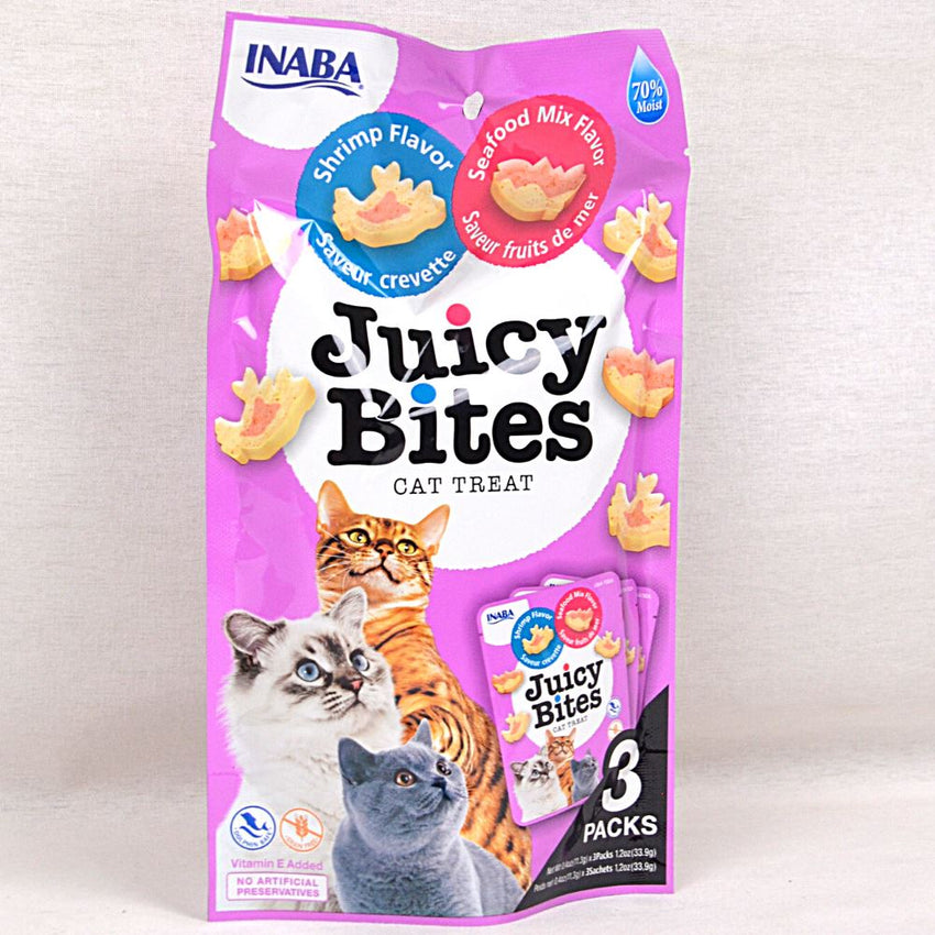 INABA USA704A Juicy Bites Shrimp and Seafood Mix 3pcs Cat Snack Ciao