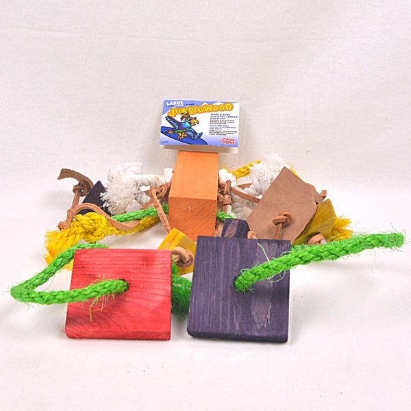 LIVINGWORLD 81172 Large Rope With Two Wood Block,Leather Strips Bird Toys Living World