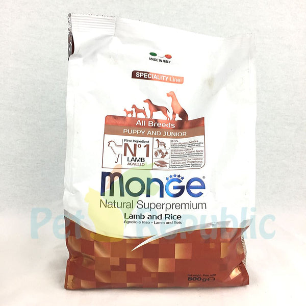 MONGE Dry Food Puppy and Junior Lamb and Rice 800gr - Pet Republic Jakarta