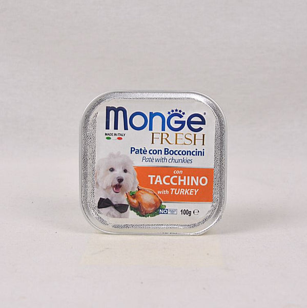 MONGE TRAY Fresh Turkey 100gr Dog Food Wet Monge