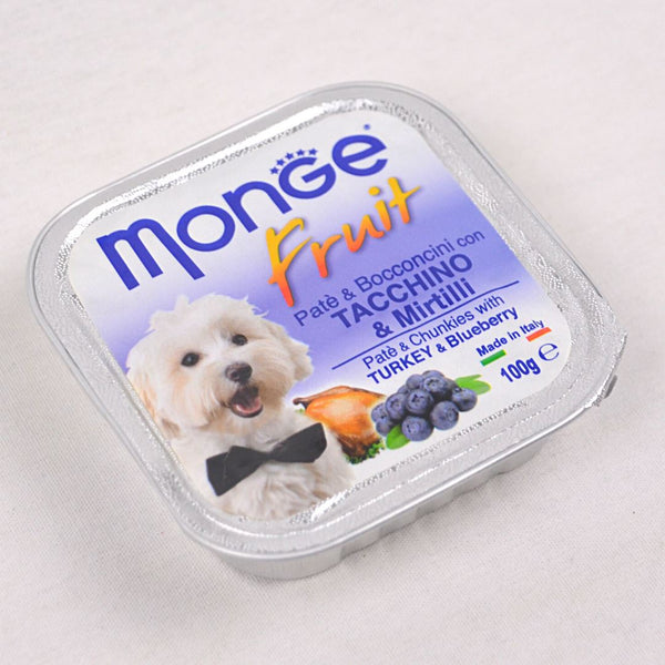 MONGE Tray Fruit Turkey and Blueberry 100gr Dog Food Wet Monge