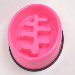 MPETS Fishbone Slow Feed Bowl Oval Pink Pet Bowl MPets