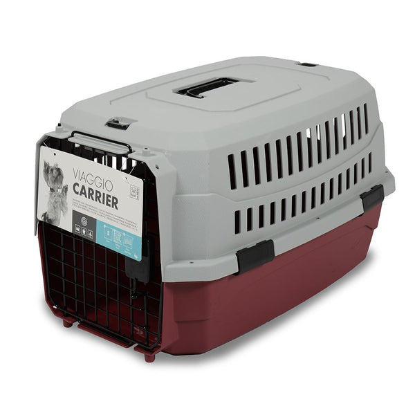 MPETS Viaggio Carrier Small Travel Cage MPets Red Grey