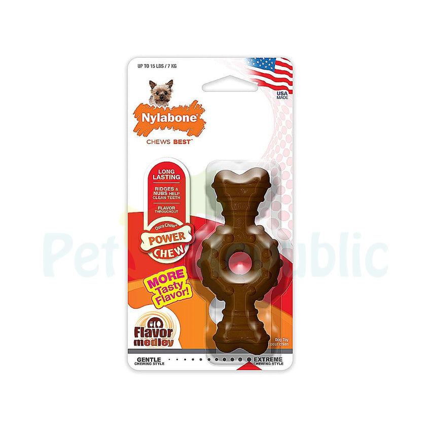 NYLABONE Durachew Power Chew Flavor Medley Textured Ring Bone Petite - Pet Republic Jakarta
