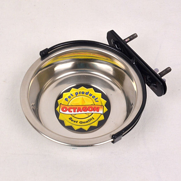 OCTAGON TER 250 Stainless Bowl With Hanger 13cm x 3cm Small Animal Supplies Octagon