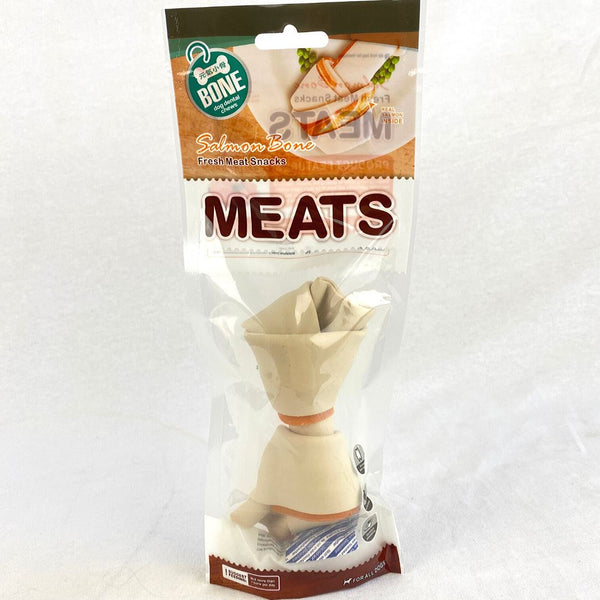 ORGO MEATS Salmon Flavor Knotted bone Large 1pc Dog Dental Chew Orgo