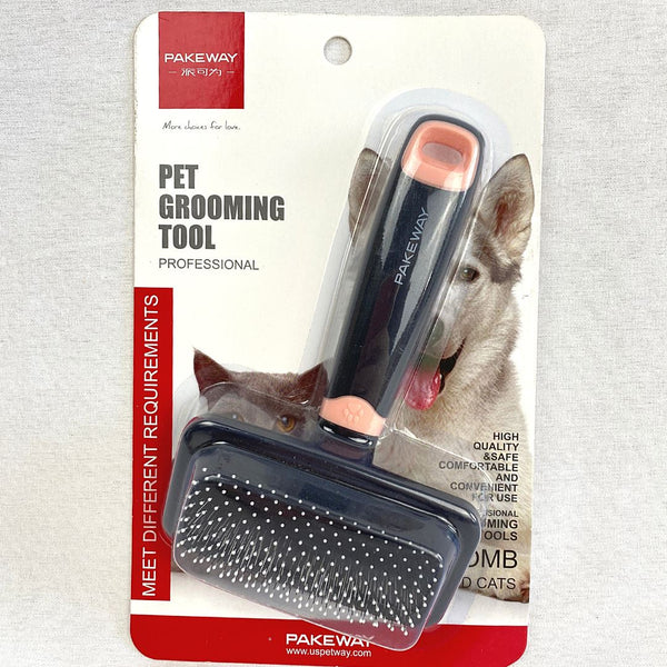 PAKEWAY TOMCAT Needle Comb Slicker Brush Grooming Tools Tom Cat Pink