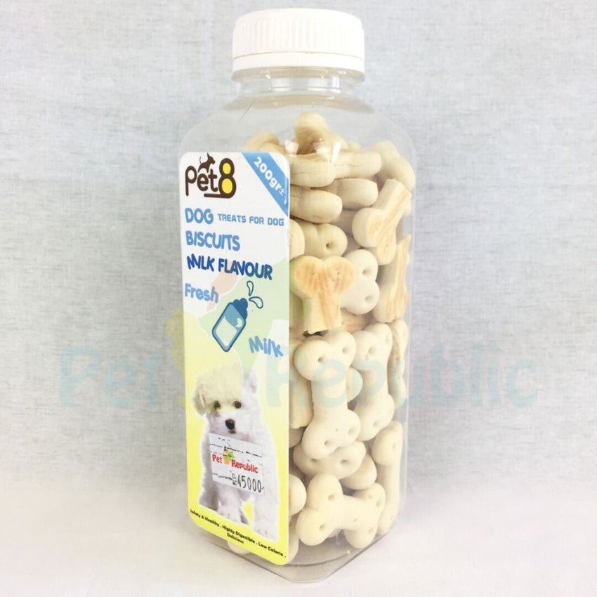 PET8 Dog Bone Biscuit Milk 200gr - Pet Republic Jakarta