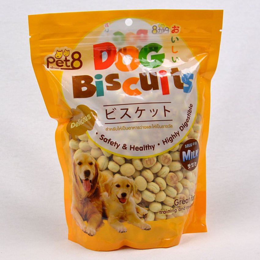 PET8 Dog Round Biscuit Milk 350gr Dog Snack Pet8