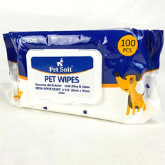 PETSOFT Pet Wipes 100pcs Grooming Pet Care Pet Soft