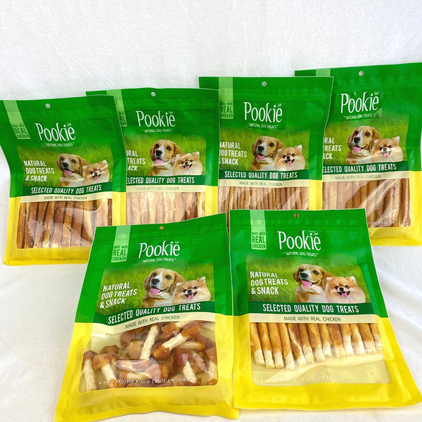 POOKIE Jerky Chicken Rolled Dumbel Rawhide 200g Dog Dental Chew Pookie