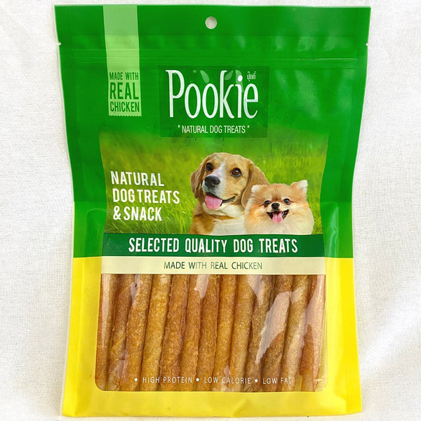 POOKIE Jerky Chicken Rolled Twist Stick 200g Dog Dental Chew Pookie