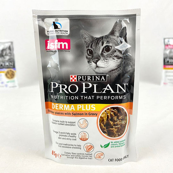 PROPLAN Pouch Adult Derma Plus Salmon 85gr Cat Food Wet Proplan