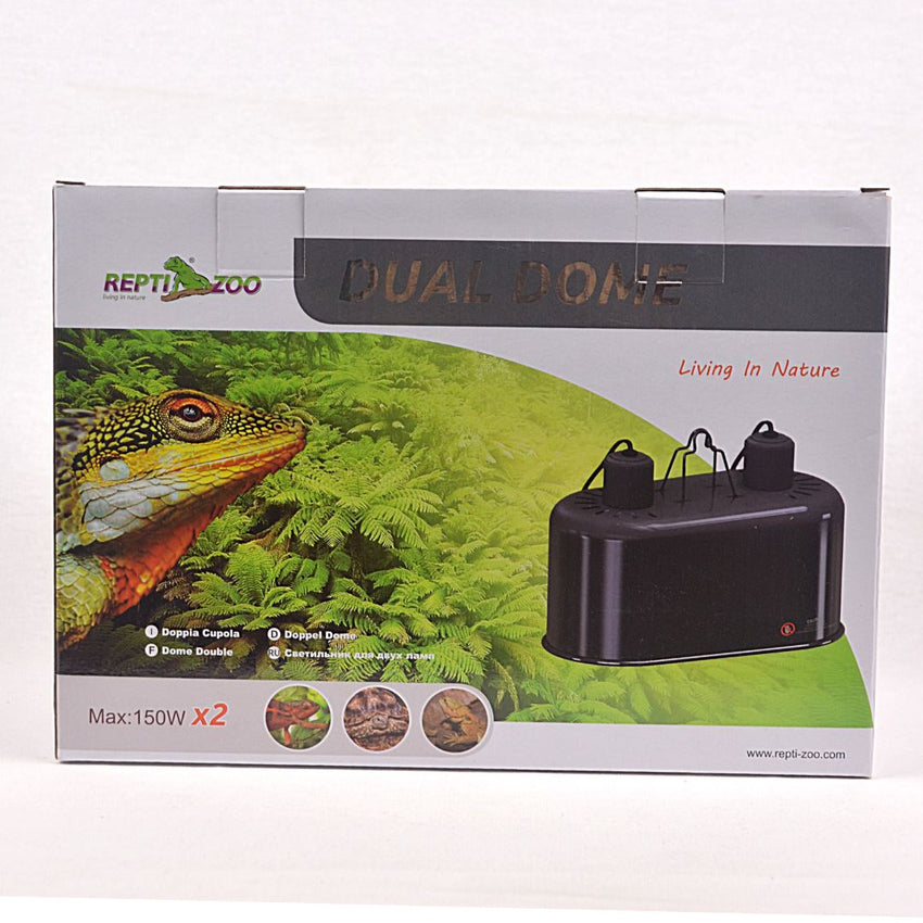 REPTIZOO Dual Dome Combo 2x150w Reptile Heating & Lighting Reptizoo