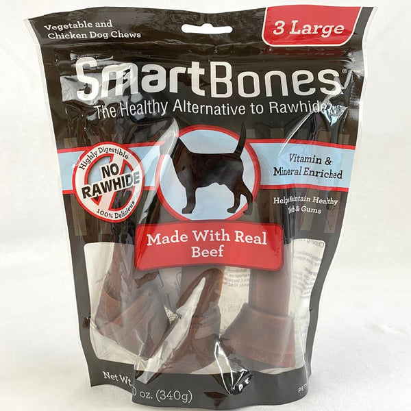 SMARTBONES Beef Large 3Pk Dog Dental Chew Smartbones