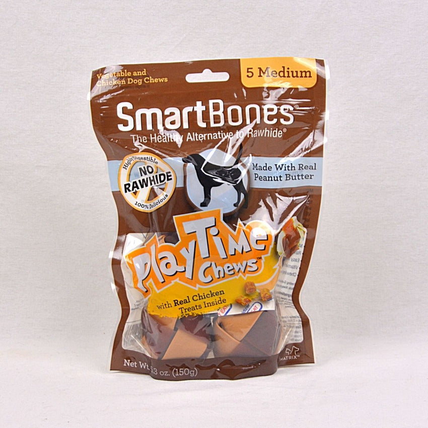 SMARTBONES Dental Chew PLAYTIME Peanut Butter Med 5pcs Dog Dental Chew Smartbones