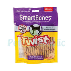 SMARTBONES Dental Chew Twist Bacon and Cheese Stick 50pcs - Pet Republic Jakarta