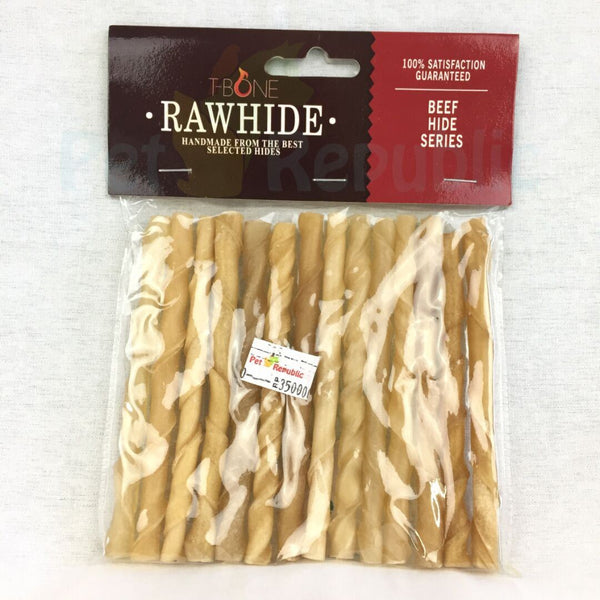 "TBONE Rawhide TTS5 Natural Twist Stick 5"" 8mm - Pet Republic Jakarta"