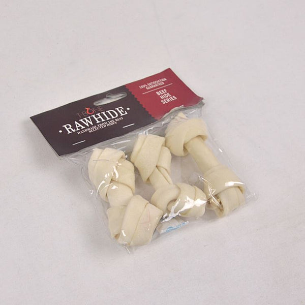 "TBONE Rawhide TWKB4 Milk Knot Bone 4,5"" 3pcs Dog Dental Chew TBone"
