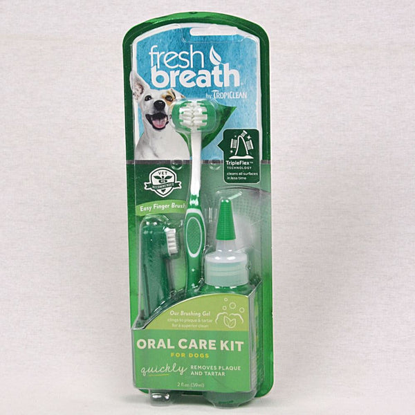 TROPICLEAN Fresh Breath Oral Care Kit Med-Large Dogs Grooming Pet Care Tropiclean