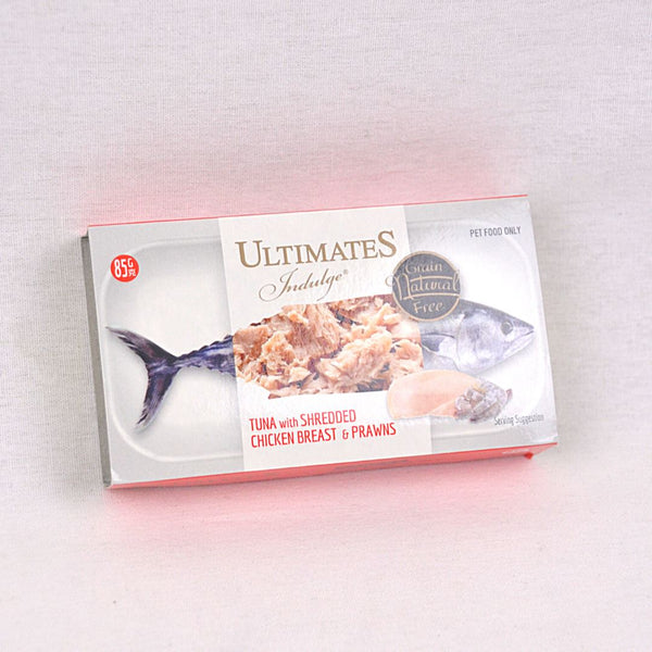 ULTIMATES Indulge Tuna Shredded Chicken Breast And Prawn 85g Cat Food Wet Ultimates Indulge