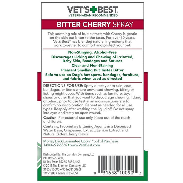 VETSBEST Bitter Cherry Spray 225ml Pet Training Vet's Best