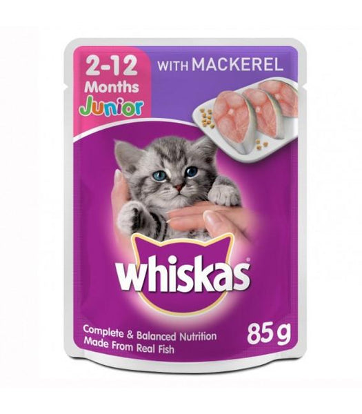 WHISKAS Pouch Kitten Mackerel 85gr Cat Food Wet Whiskas