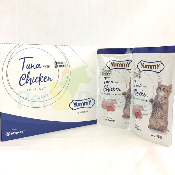 YUMMY Kitten Pouch Grain Free Tuna and Chicken 85gr - Pet Republic Jakarta