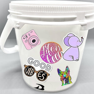 DRYbands chalk bucket with stickers for quick customization.  Design your bucket the way you like.