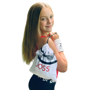 white grip bag, DRYbands best  gymnastic wristbands for gymnasts to prevent wrist rips