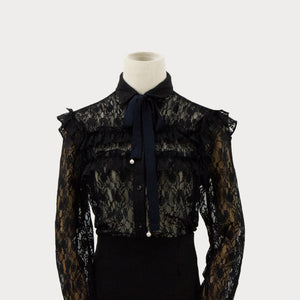 Lydia Ruffle Trim Lace Sheer Top