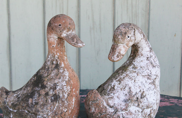 A Pair of Vintage Terracotta Ducks