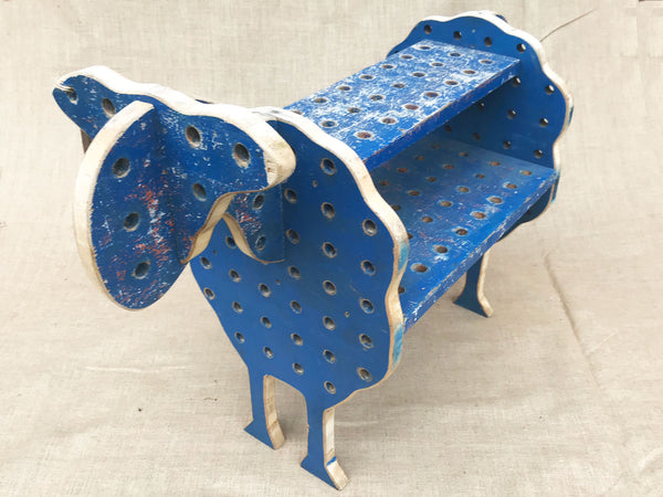 A late 1960's blue painted wooden sheep by a French artist