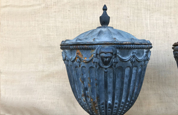 A Pair of Vintage Cast Iron Urns