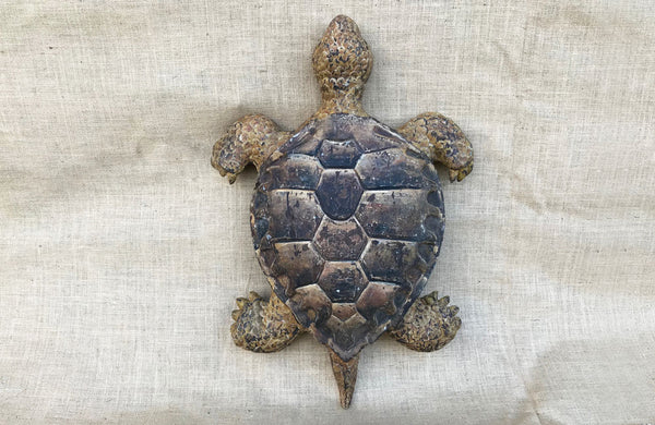 A 19th C Italian Carved Wood and Painted Turtle