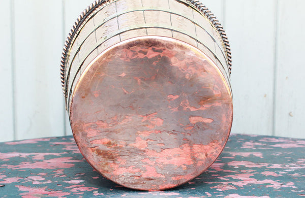 Edwardian Copper and Brass Bound Ice Bucket / Wine Cooler