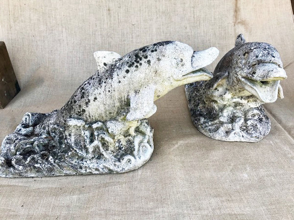 Pair of reconstituted stone dolphin fountains