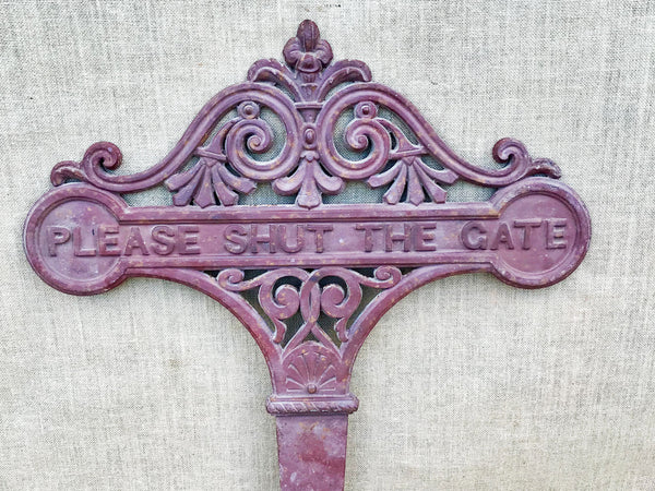 'Please Shut the Gate' cast iron sign
