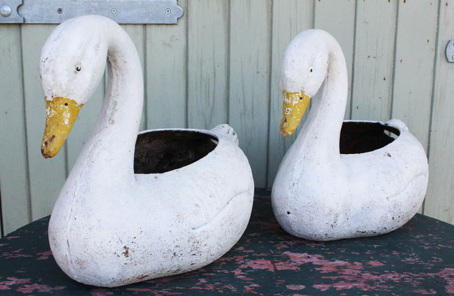 Pair of Vintage Cast Iron Swan Planters