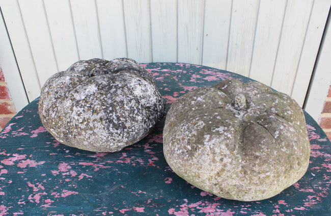 A Pair of Vintage Reconstituted Stone Pumpkins